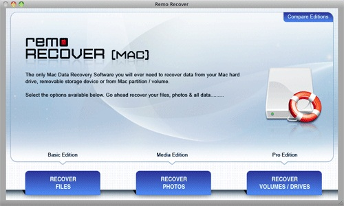 Mac OS X File Recovery-Main Screen